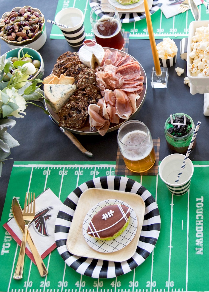 Football party table from a SuperBowl Sunyay Football Party on Kara's Party Ideas | KarasPartyIdeas.com (17)