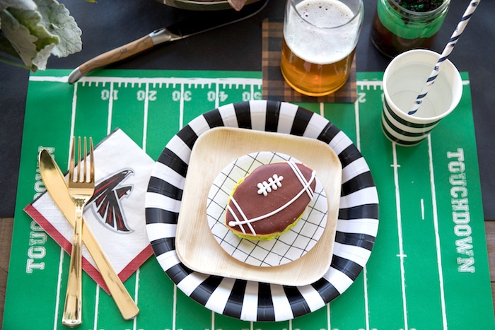 Football field place setting from a SuperBowl Sunyay Football Party on Kara's Party Ideas | KarasPartyIdeas.com (13)
