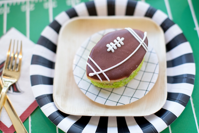 Stacked football cookie from a SuperBowl Sunyay Football Party on Kara's Party Ideas | KarasPartyIdeas.com (28)