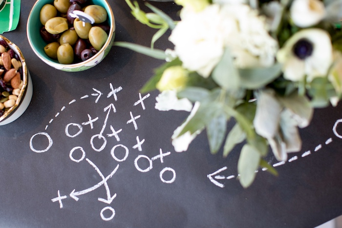 Chalkboard tabletop from a SuperBowl Sunyay Football Party on Kara's Party Ideas | KarasPartyIdeas.com (6)