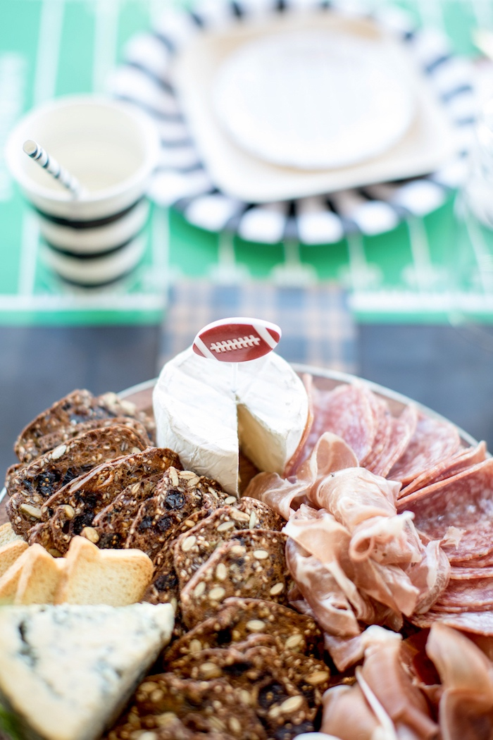 Meat and cheese platter from a SuperBowl Sunyay Football Party on Kara's Party Ideas | KarasPartyIdeas.com (24)