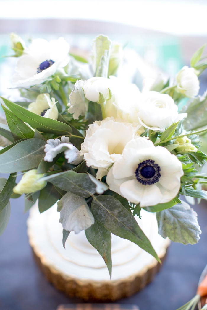 White floral arrangement from a SuperBowl Sunyay Football Party on Kara's Party Ideas | KarasPartyIdeas.com (23)