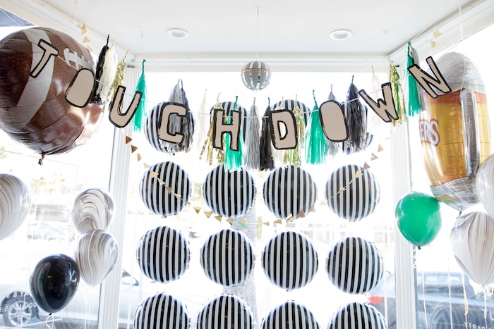 Touchdown balloon wall + backdrop from a SuperBowl Sunyay Football Party on Kara's Party Ideas | KarasPartyIdeas.com (21)