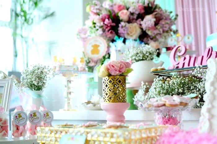 Dessert table detail + decor from a TOUS Teddy Bear Baby Shower on Kara's Party Ideas | KarasPartyIdeas.com (9)