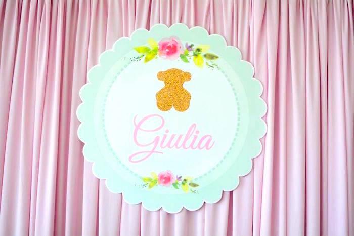 Backdrop from a TOUS Teddy Bear Baby Shower on Kara's Party Ideas | KarasPartyIdeas.com (7)