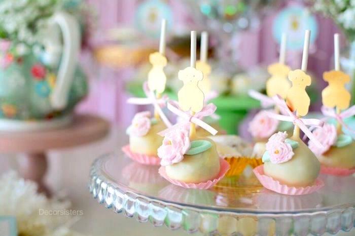 Cake pops from a TOUS Teddy Bear Baby Shower on Kara's Party Ideas | KarasPartyIdeas.com (18)