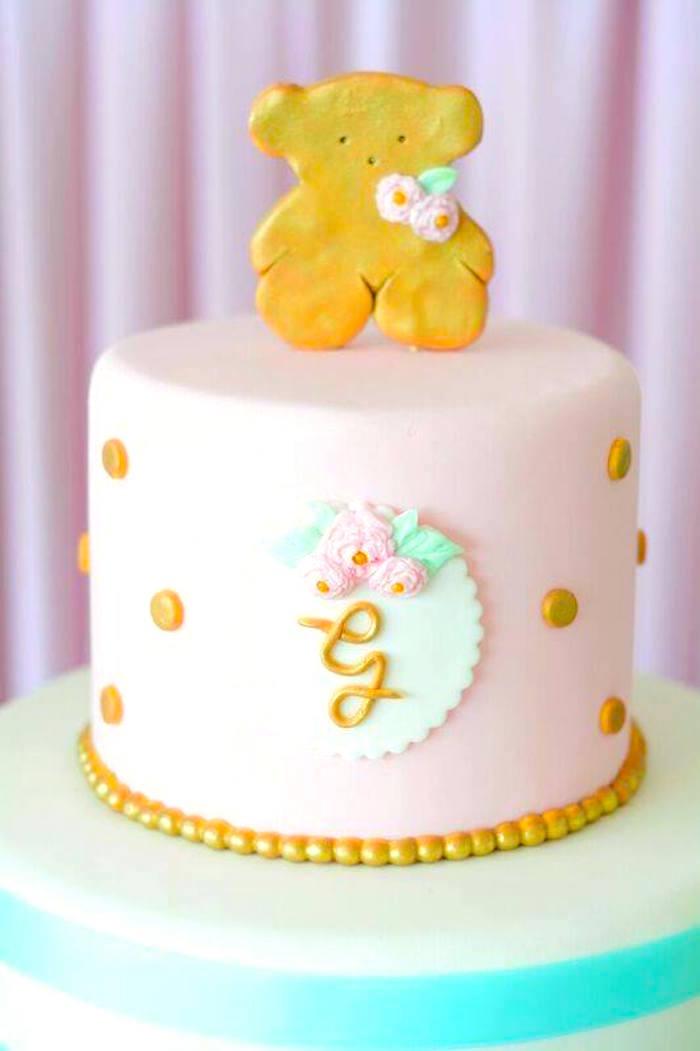 Cake from a TOUS Teddy Bear Baby Shower on Kara's Party Ideas | KarasPartyIdeas.com (13)