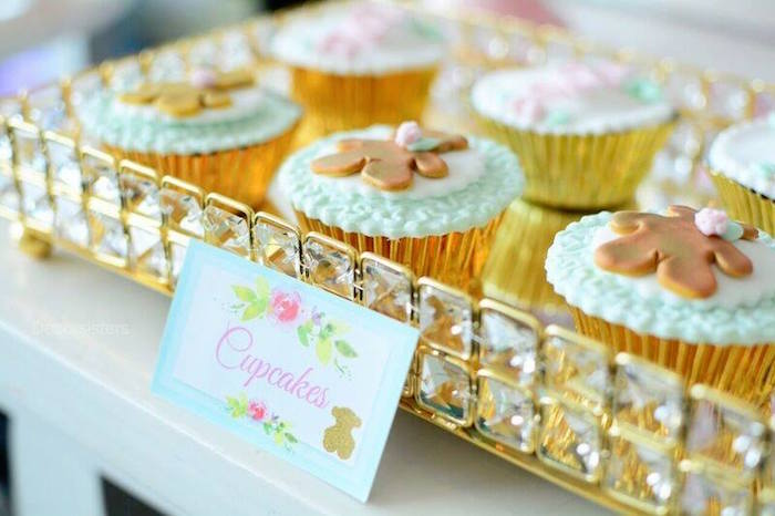 Teddy Bear Cupcakes From A TOUS Teddy Bear Baby Shower On Karau0027s Party Ideas  | KarasPartyIdeas