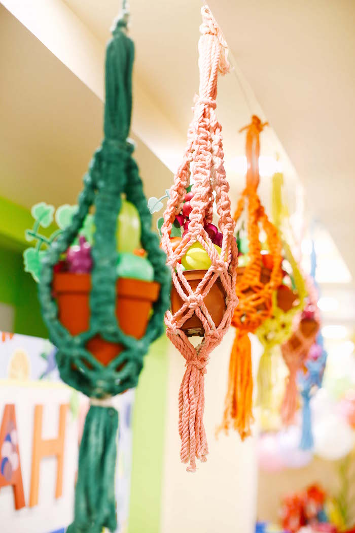 Hanging pots from a TWOtti Frutti Birthday Party on Kara's Party Ideas | KarasPartyIdeas.com (13)
