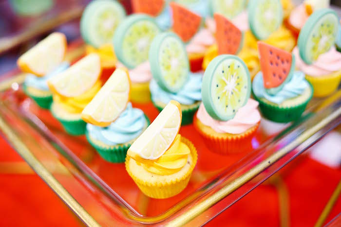Fruit cupcakes from a TWOtti Frutti Birthday Party on Kara's Party Ideas | KarasPartyIdeas.com (12)