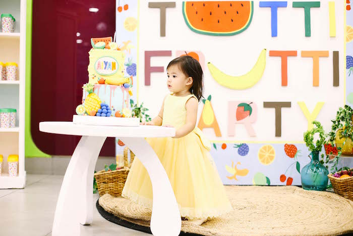 Cake table from a TWOtti Frutti Birthday Party on Kara's Party Ideas | KarasPartyIdeas.com (5)