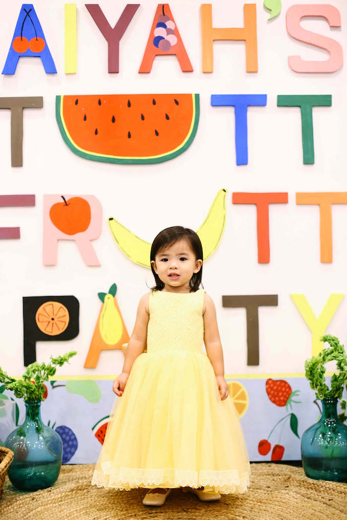 Photo + party backdrop from a TWOtti Frutti Birthday Party on Kara's Party Ideas | KarasPartyIdeas.com (3)