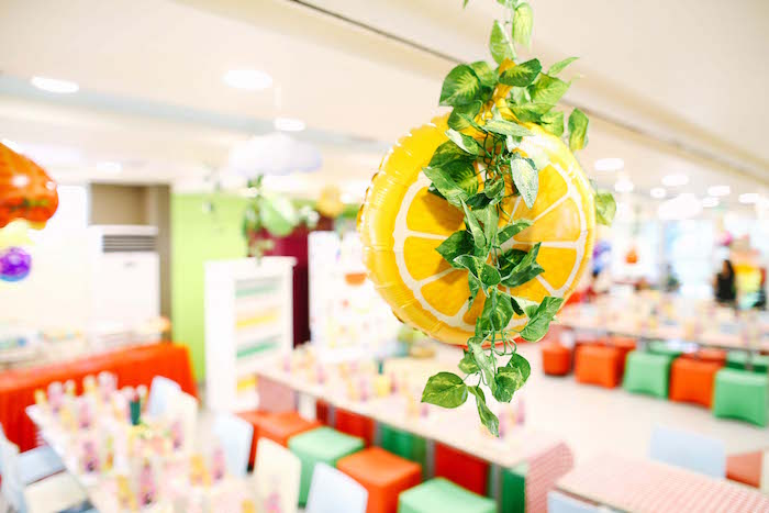 Lemon balloon from a TWOtti Frutti Birthday Party on Kara's Party Ideas | KarasPartyIdeas.com (21)