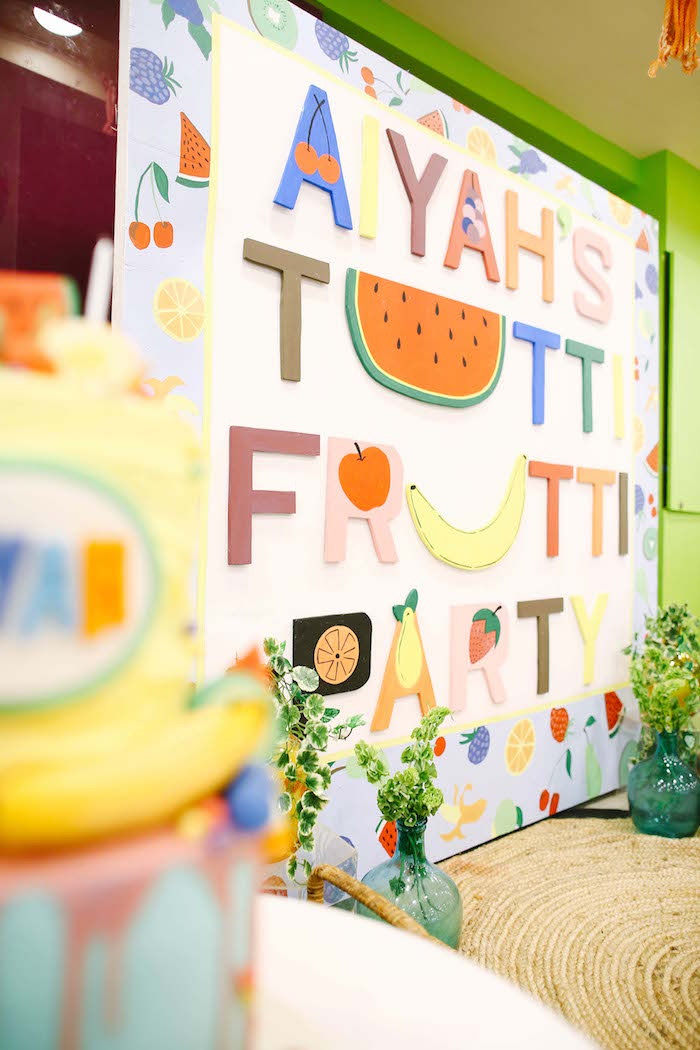 Tutti Frutti backdrop from a TWOtti Frutti Birthday Party on Kara's Party Ideas | KarasPartyIdeas.com (18)
