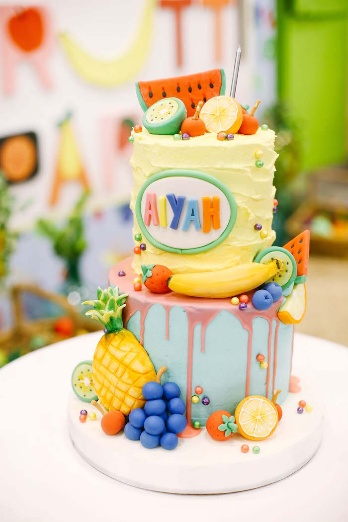 Tutti Frutti Cake from a TWOtti Frutti Birthday Party on Kara's Party Ideas | KarasPartyIdeas.com (15)