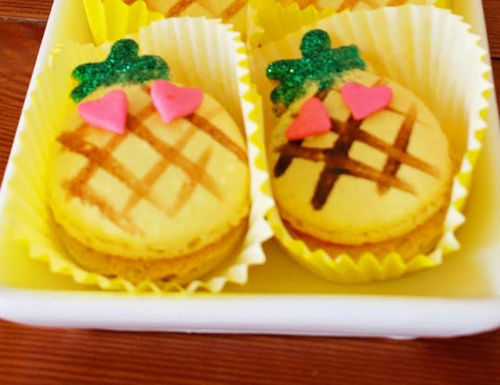 Pineapple macarons from a Tropical Dessert Bar on Kara's Party Ideas | KarasPartyIdeas.com (5)