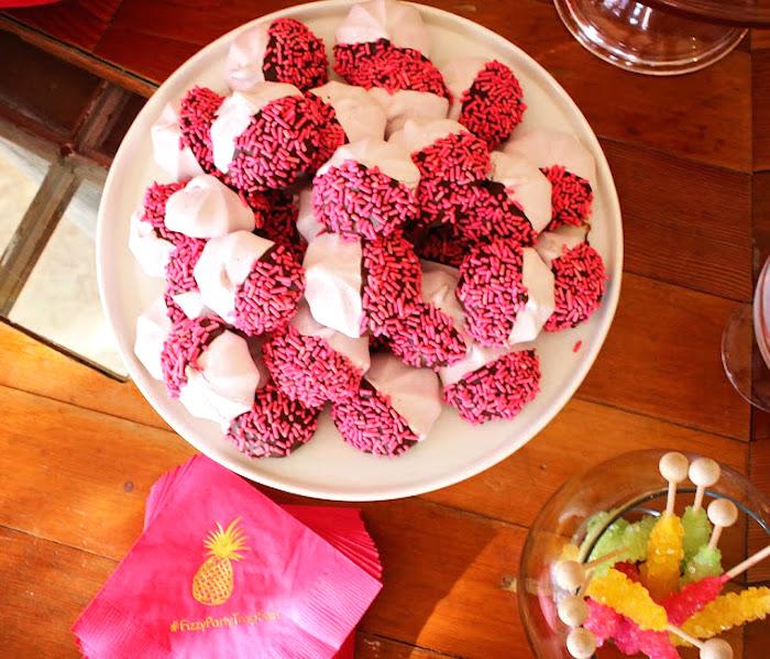 Sprinkled meringues from a Tropical Dessert Bar on Kara's Party Ideas | KarasPartyIdeas.com (4)