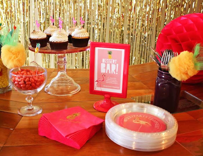 Dessert bar + partyware from a Tropical Dessert Bar on Kara's Party Ideas | KarasPartyIdeas.com (15)