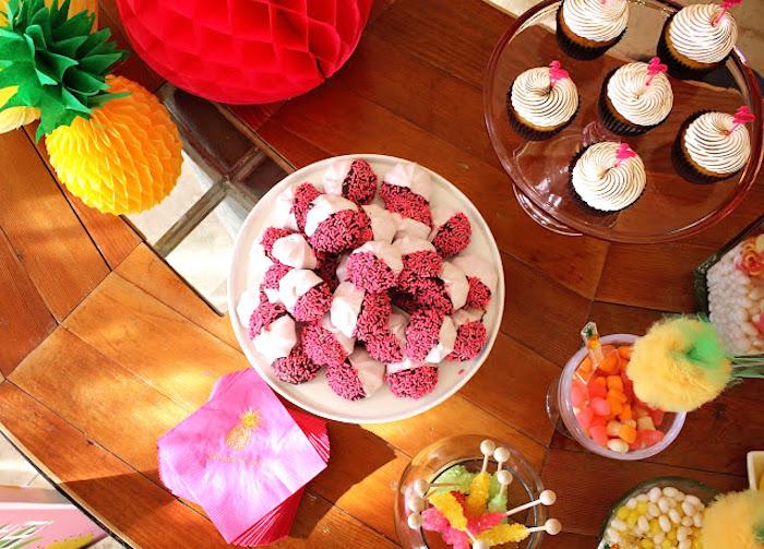 Top-view of a Tropical Dessert Bar on Kara's Party Ideas | KarasPartyIdeas.com (8)