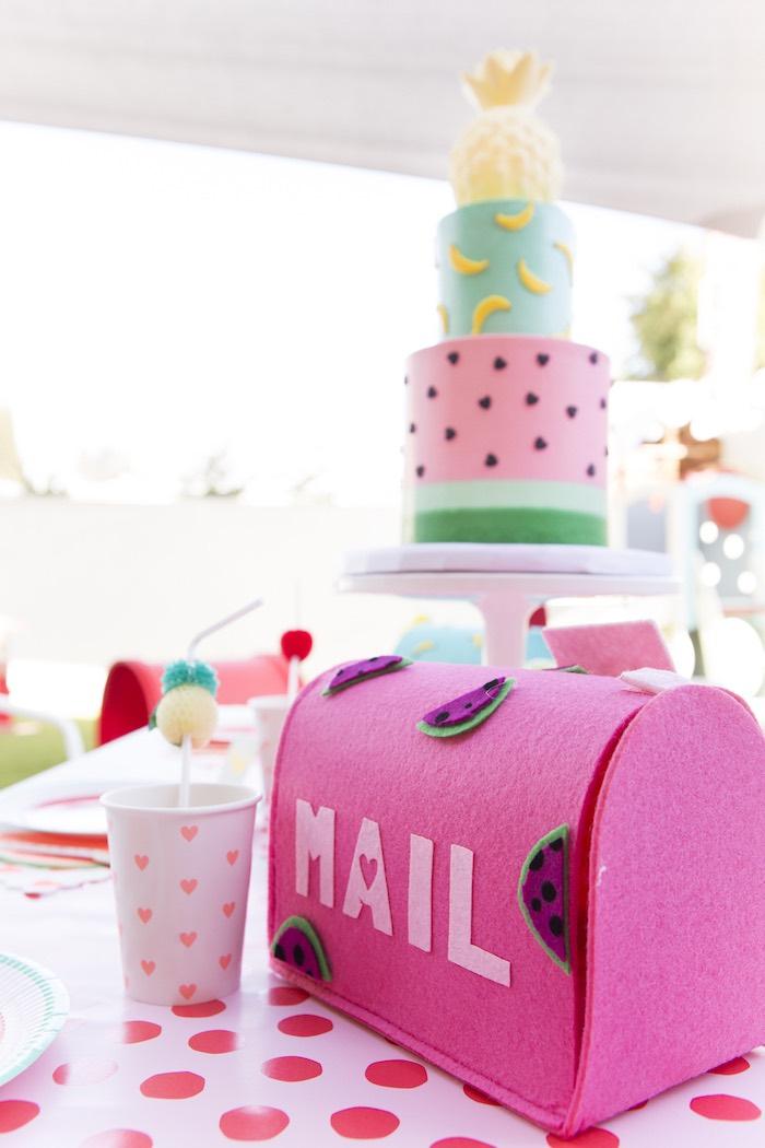 Tutti Frutti watermelon mailbox from a Tutti Frutti Valentine's Day Party on Kara's Party Ideas | KarasPartyIdeas.com (18)
