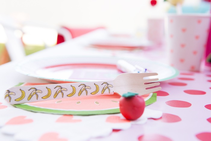 Wooden fork printed with bananas from a Tutti Frutti Valentine's Day Party on Kara's Party Ideas | KarasPartyIdeas.com (17)