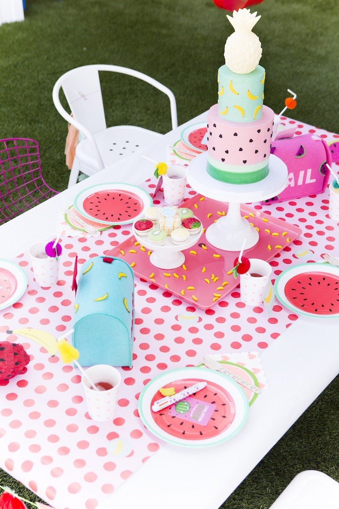 Guest table from a Tutti Frutti Valentine's Day Party on Kara's Party Ideas | KarasPartyIdeas.com (16)