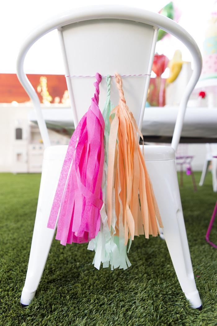 Chair tassels from a Tutti Frutti Valentine's Day Party on Kara's Party Ideas | KarasPartyIdeas.com (29)