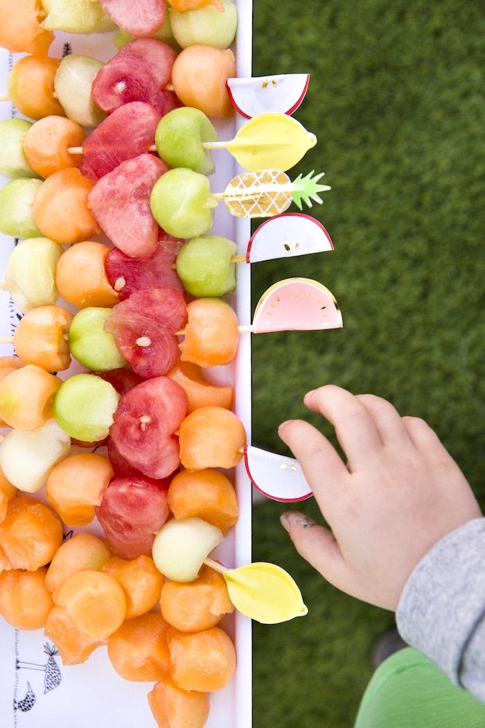 Fruit kabobs from a Tutti Frutti Valentine's Day Party on Kara's Party Ideas | KarasPartyIdeas.com (8)