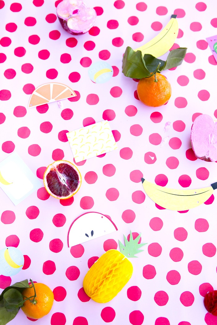 Fruit stamp table from a Tutti Frutti Valentine's Day Party on Kara's Party Ideas   KarasPartyIdeas.com (4)