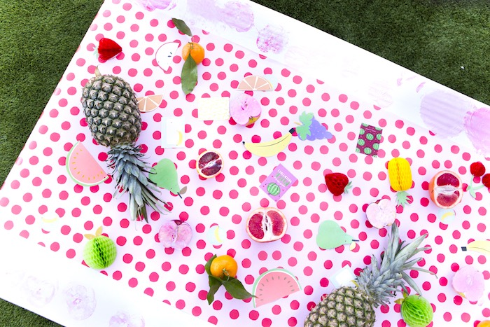 Fruit stamp table from a Tutti Frutti Valentine's Day Party on Kara's Party Ideas | KarasPartyIdeas.com (3)