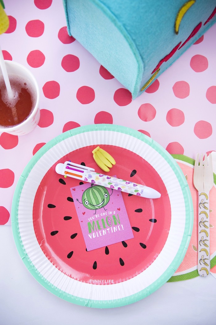 Fruit themed place setting from a Tutti Frutti Valentine's Day Party on Kara's Party Ideas | KarasPartyIdeas.com (28)