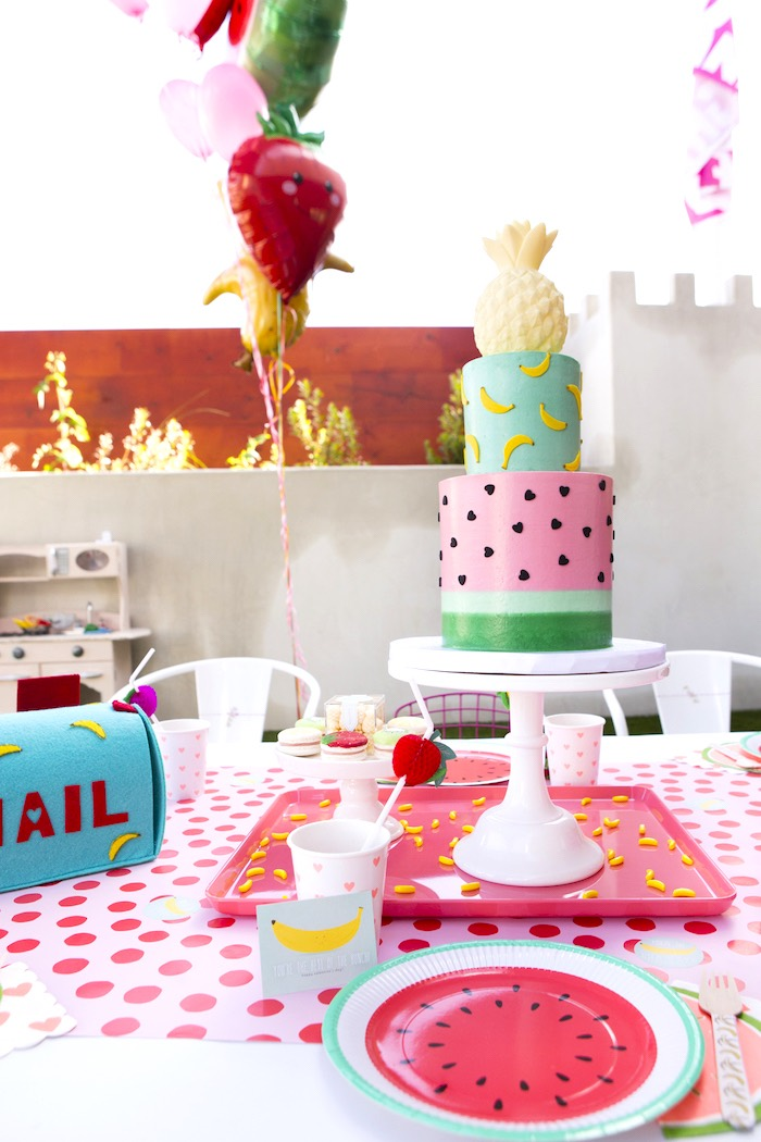 Guest table from a Tutti Frutti Valentine's Day Party on Kara's Party Ideas | KarasPartyIdeas.com (26)