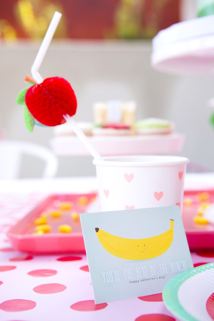 Heart=printed cup with apple straw topper from a Tutti Frutti Valentine's Day Party on Kara's Party Ideas | KarasPartyIdeas.com (25)