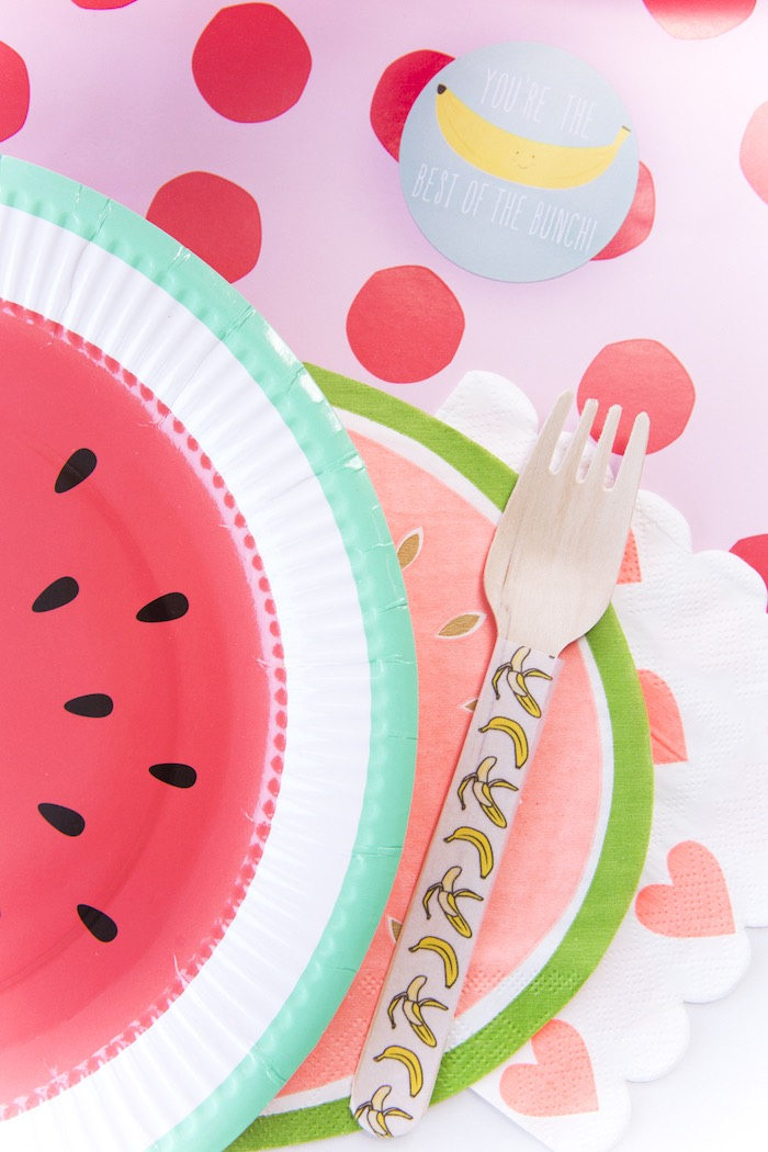 Fruit place setting from a Tutti Frutti Valentine's Day Party on Kara's Party Ideas | KarasPartyIdeas.com (24)