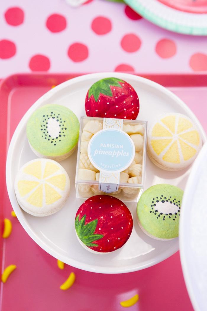 Tutti frutti macarons from a Tutti Frutti Valentine's Day Party on Kara's Party Ideas | KarasPartyIdeas.com (23)