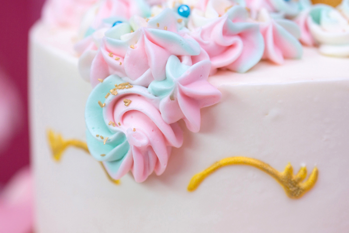 "Cake detail from a ""Unicorns are Real"" Birthday Party on Kara's Party Ideas 