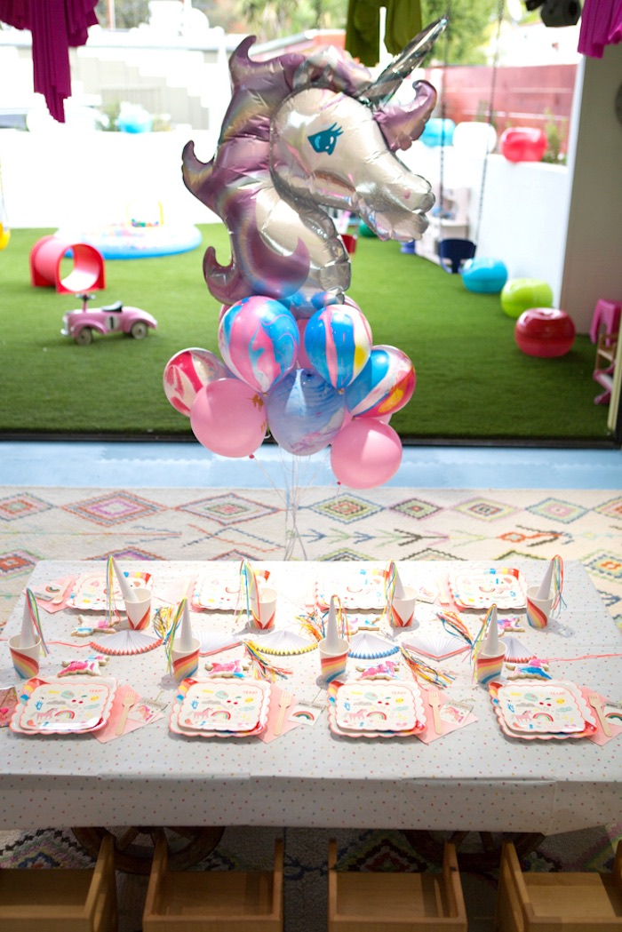 "Guest table from a ""Unicorns are Real"" Birthday Party on Kara's Party Ideas 
