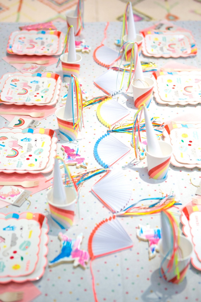 "Guest tablescape from a ""Unicorns are Real"" Birthday Party on Kara's Party Ideas 