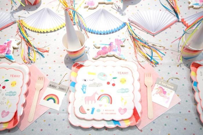 "Place setting from a ""Unicorns are Real"" Birthday Party on Kara's Party Ideas 