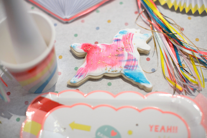 "Unicorn sugar cookie from a ""Unicorns are Real"" Birthday Party on Kara's Party Ideas 