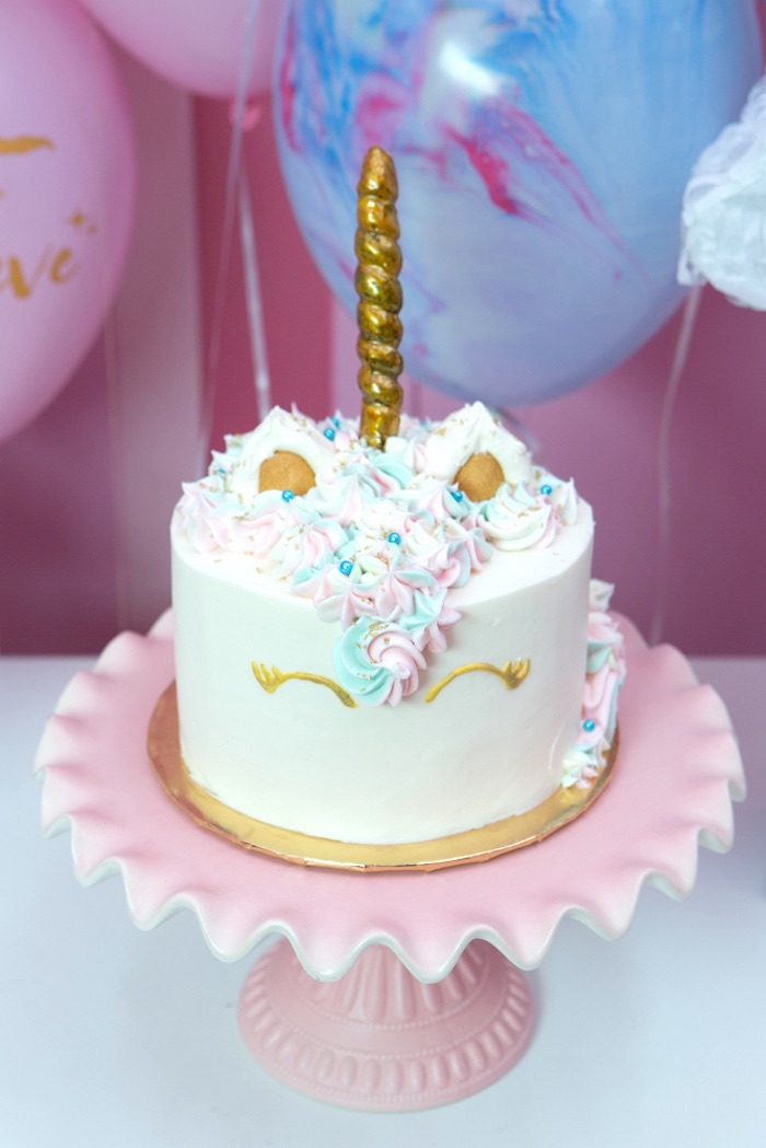 "Unicorn cake from a ""Unicorns are Real"" Birthday Party on Kara's Party Ideas 