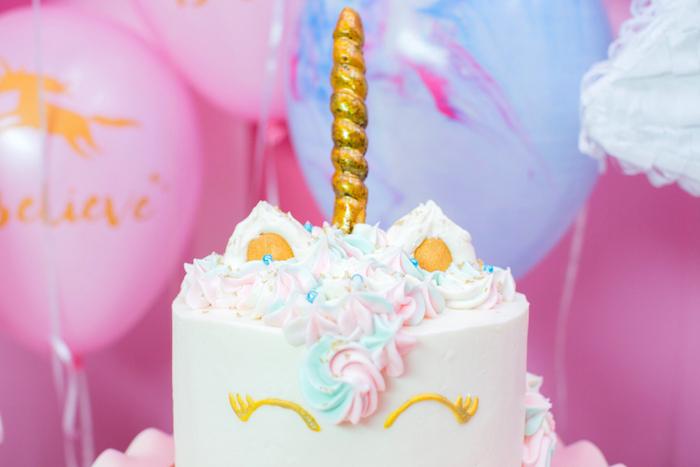 "Unicorn cake from a ""Unicorns are Real"" Birthday Party on Kara's Party Ideas   KarasPartyIdeas.com (24)"