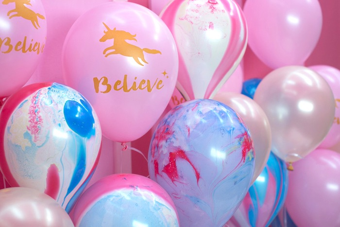 "Balloon backdrop from a ""Unicorns are Real"" Birthday Party on Kara's Party Ideas 