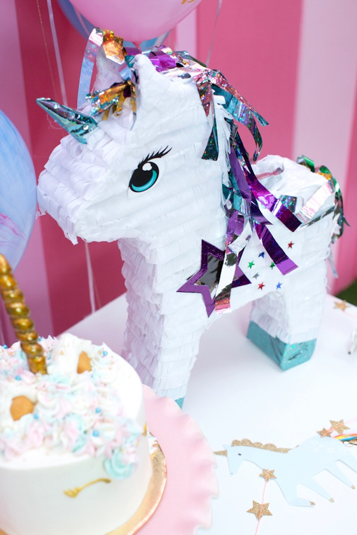 "Unicorn pinata from a ""Unicorns are Real"" Birthday Party on Kara's Party Ideas 