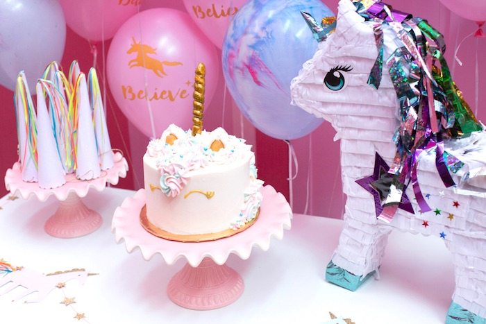 """Cake table detail from a """"Unicorns are Real"""" Birthday Party on Kara's Party Ideas   KarasPartyIdeas.com (20)"""