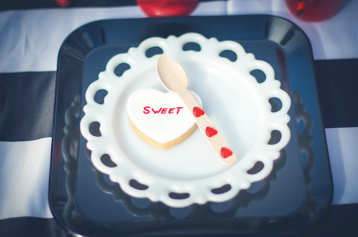 Conversation heart cookie place setting from a Valentine Playdate Party on Kara's Party Ideas | KarasPartyIdeas.com (5)