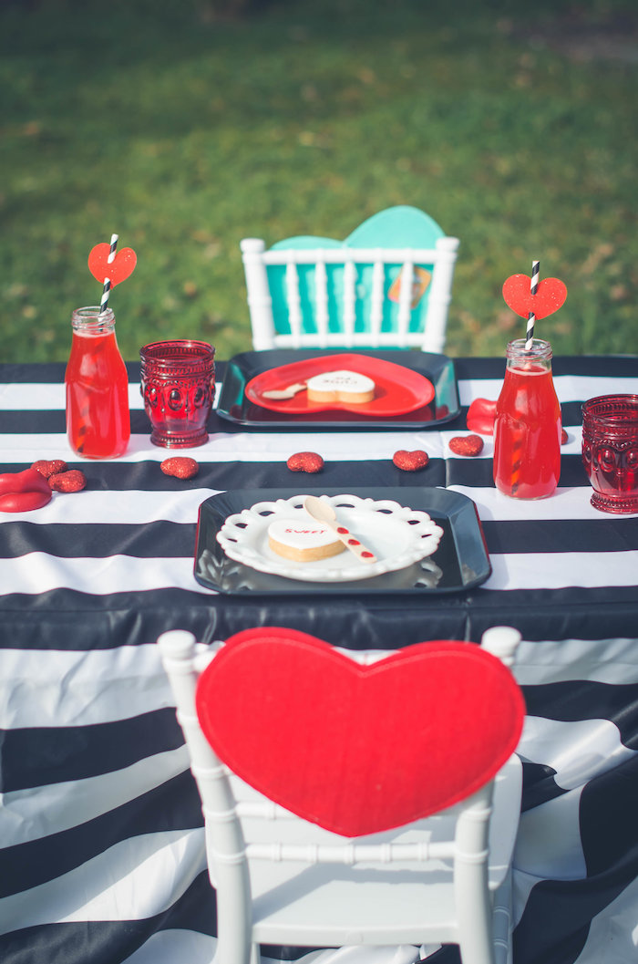 Red heart place setting from a Place setting from a Valentine Playdate Party on Kara's Party Ideas | KarasPartyIdeas.com (4)