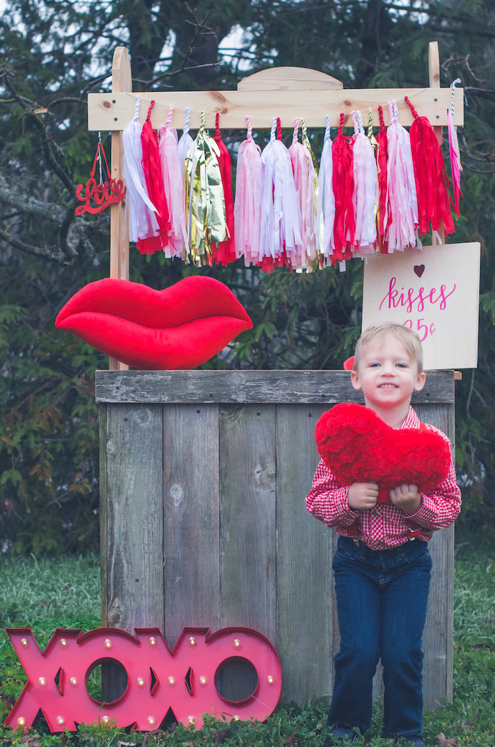 Kissing booth from a Valentine Playdate Party on Kara's Party Ideas | KarasPartyIdeas.com (31)