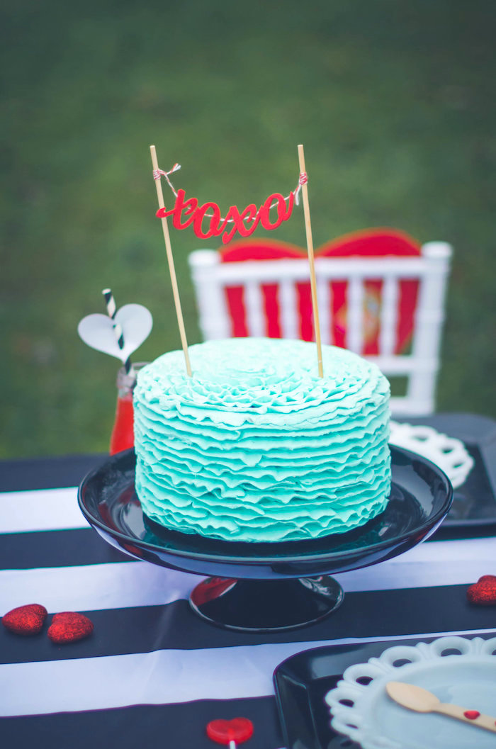 Ruffle cake with XOXO banner from a Valentine Playdate Party on Kara's Party Ideas | KarasPartyIdeas.com (28)