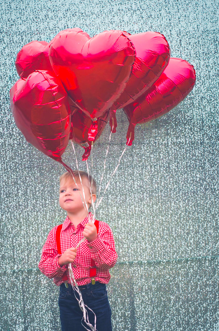Red heart balloon photo booth from a Valentine Playdate Party on Kara's Party Ideas | KarasPartyIdeas.com (26)